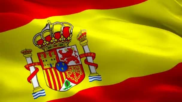 Spanyolország lobogója hullám hurok integetett a szél Madrid. Reális spanyol zászló háttér. Spanyolország lobogója Vértes 1080p Full Hd 1920 x 1080 felvétel. Spanyolország és Madrid. Európa zászlói ország / egyéb Hd elérhető zászlók