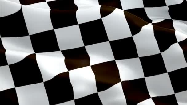 Racing Flag Start Race waving in wind video footage Full HD. Realistic Finish Line Racing background. HD Checkered Flag Looping Closeup 1080p Full HD 1920X1080.Chess Formula Black white Win Flag