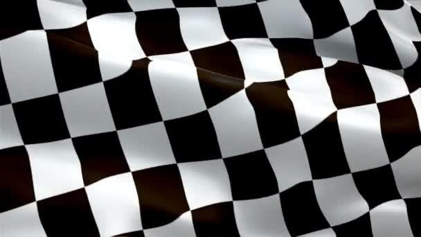 Racing End bandiera Closeup 1080p Full Hd 1920x1080 filmati video agitando in vento. Bandiera ufficiale Finish Start Race 3d Racing sventolando. Segno di Loop  Transizione senza soluzione di continuità a scacchi. Risoluzione Hd bandiera da corsa