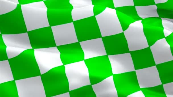 NASCAR green and white checkered flag for stages video waving in wind. Realistic NASCAR Flag background. Start Race Checkered Flag Looping Closeup 1080p HD 1920X1080 footage.Checkered Green white