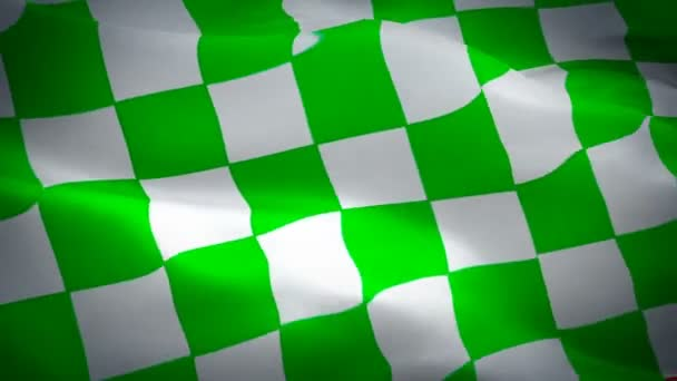 Checkered flag video waving in wind. Isolated Waving Checkered Flag. Chequered Flag Looping Closeup 1080p Full HD 1920X1080 footage. Checkered Green white Start Finish Win Race flags footage video