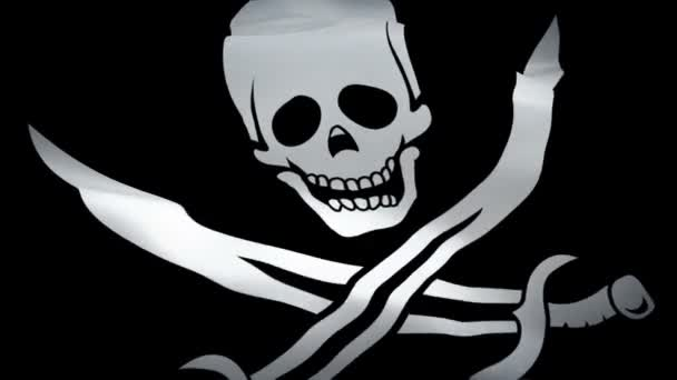 Pirate Skull Flag video waving in wind. Calico Jack Pirate Skull Blackjack Flag background. Jolly Roger Pirate Flag Looping Closeup 1080p Full HD footage.Death Black white flag background 1080p HD