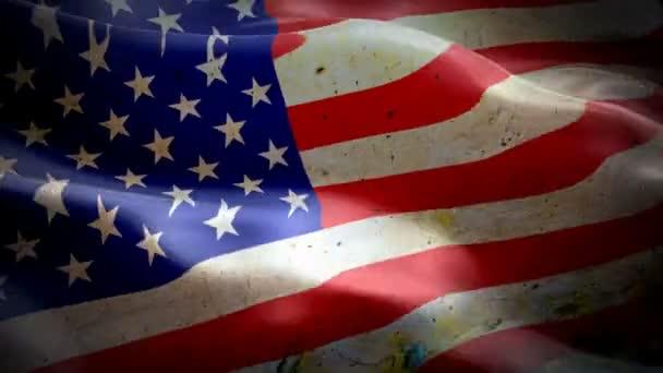 Piszkos amerikai zászló integetett videó a szél felvétel Full HD. amerikai zászló integetett videó letöltés. USA zászló Looping closeup 1080p teljes HD 1920x1080 Footage. Grunge USA amerikai ország zászlók Full HD