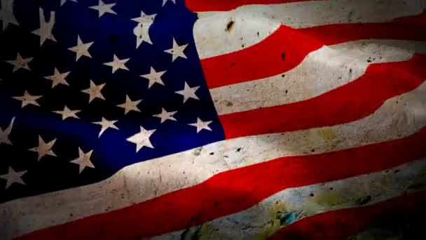 Grunge United States flag Closeup 1080p Full HD 1920X1080 footage video waving in wind. National 3d dirty United States flag waving. Sign of USA seamless loop animation. Grunge United States flag HD