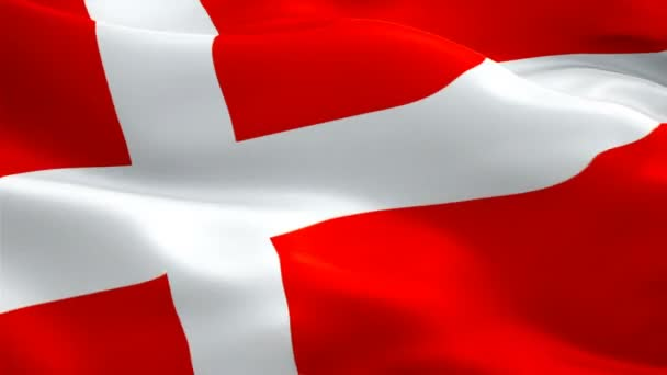 Closeup Of Animation Waving Dannebrog Denmark Flag With Red