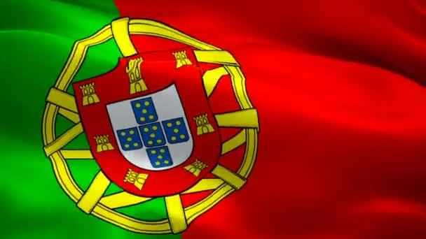 Portugál zászló integetett a szél videofelvételek Full HD. reális portugál zászló háttér. Portugal lobogó Looping closeup 1080p Full HD 1920x1080 felvételeket. Portugália EU-európai ország zászlók Full HD