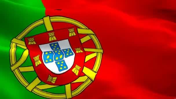Portugál zászló closeup 1080p Full HD 1920x1080 felvétel videó integetett a szél. Nemzeti lisszaboni 3D portugál zászló integetett. Jel-ból Portugália varrás nélküli hurok élénkség. Portugál zászló HD felbontású háttér 1080p