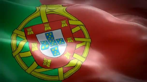 Portugália zászló videó integetett a szél. Reális portugál zászló háttér. Lisszabon Portugália lobogó Looping closeup 1080p Full HD 1920x1080 felvételeket. Portugália EU-európai ország zászlók/portugáliai portugál zászló