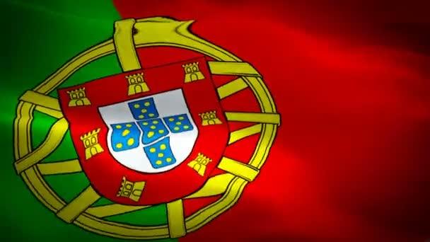 Portugália integetett zászló. A nemzeti 3D-s portugál zászló integetett. Jel-ból Portugália varrás nélküli hurok élénkség. Portugál zászló HD felbontás háttér. Portugália zászló closeup 1080p teljes HD videó bemutatása