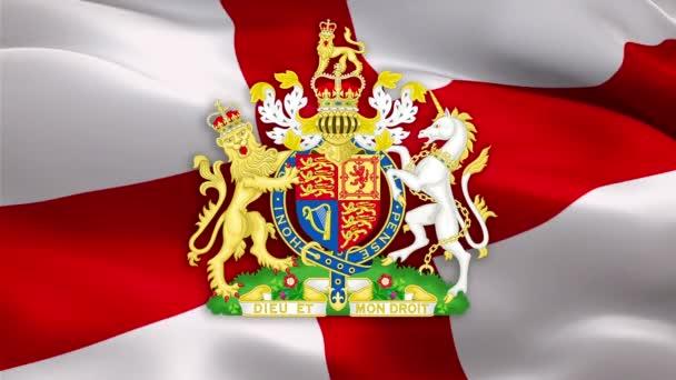 England Flagge mit dem königlichen Wappen des Vereinigten Königreichs. Britisches Königswappen. UK Royal. UK National Emblem England Zeichen auf der Flagge des Vereinigten Königreichs Hintergrund-London, 1. Mai 2020