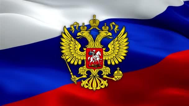 Russische Flagge mit dem Wappen Russlands. Das Wappen des Kreml-Präsidenten Russlands. Russischer Adler. Das nationale Emblem des russischen Präsidenten Kreml auf dem Hintergrund der russischen Flagge. Russisches Wappen