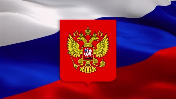 Russland-Emblem auf der Flagge der Russischen Föderation auf russischem Hintergrund. Hintergrund der russischen Feiertage ist die russische Flagge. Hintergrund der russischen Flagge. Video zum russischen Feiertag. Symbol der russischen Nationalflagge