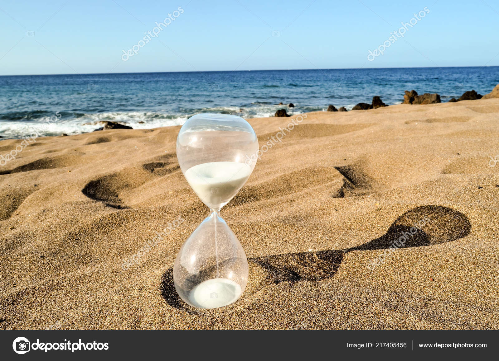 Photo Picture Hourglass Clock Sand Beach Stock Photo