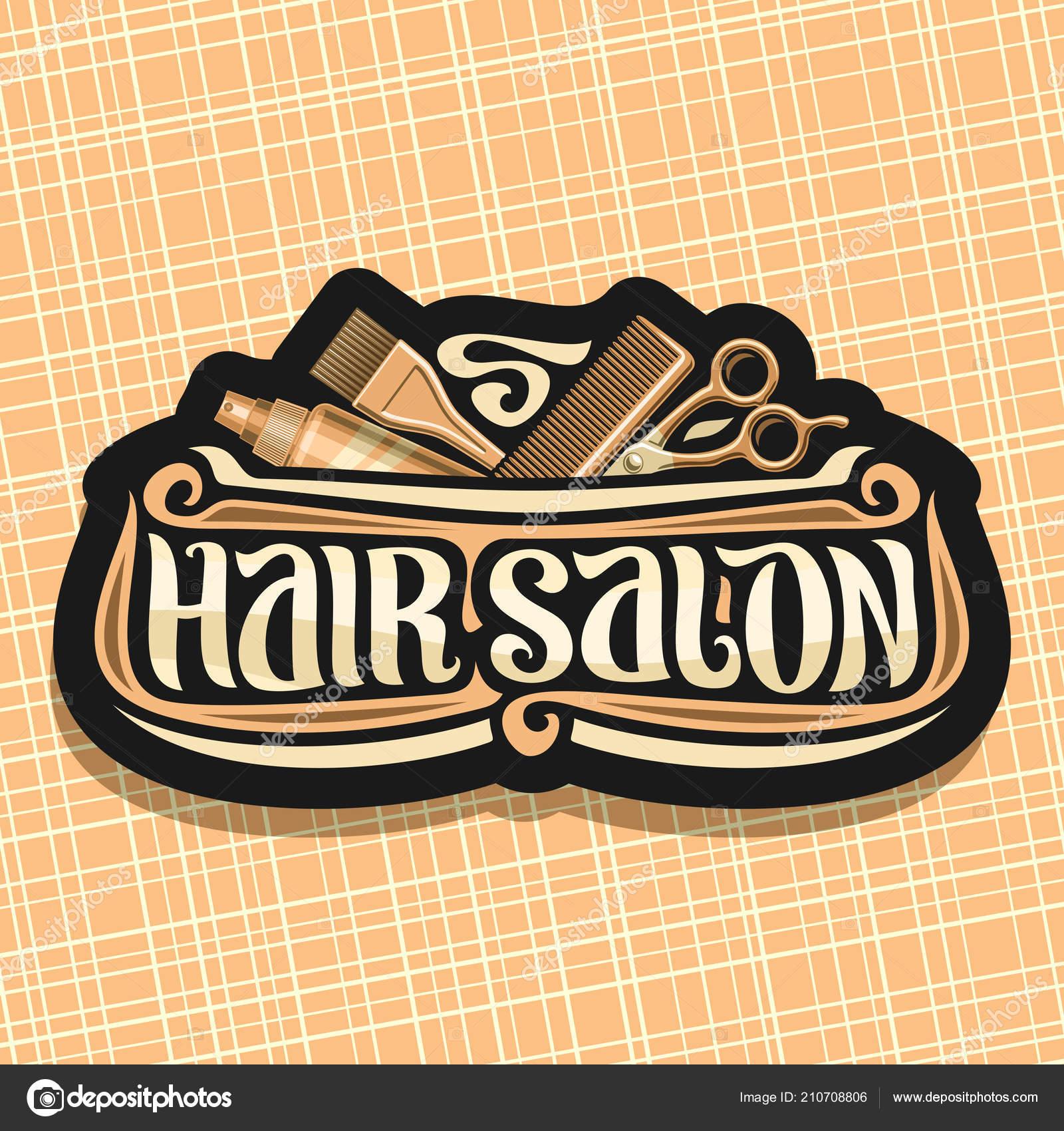 Logo Vectoriel Pour Salon Coiffure Signalisation Noire Avec