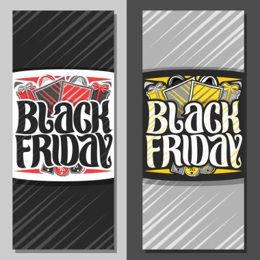 Vector vertical banners for Black Friday, flyer with red & yellow shopping bags, original brush typeface for words black friday, simple minimalistic concept for season sale on grey abstract background