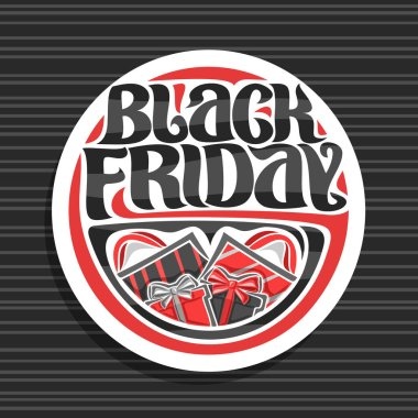 Vector logo for Black Friday, white sign with shopping bags and gift boxes, original brush typeface for words black friday, simple minimalistic concept for season sale on grey abstract background.