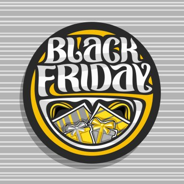 Vector logo for Black Friday, dark sign with yellow shopping bags and gift box, original brush typeface for words black friday, simple minimalistic concept for season sale on grey abstract background.