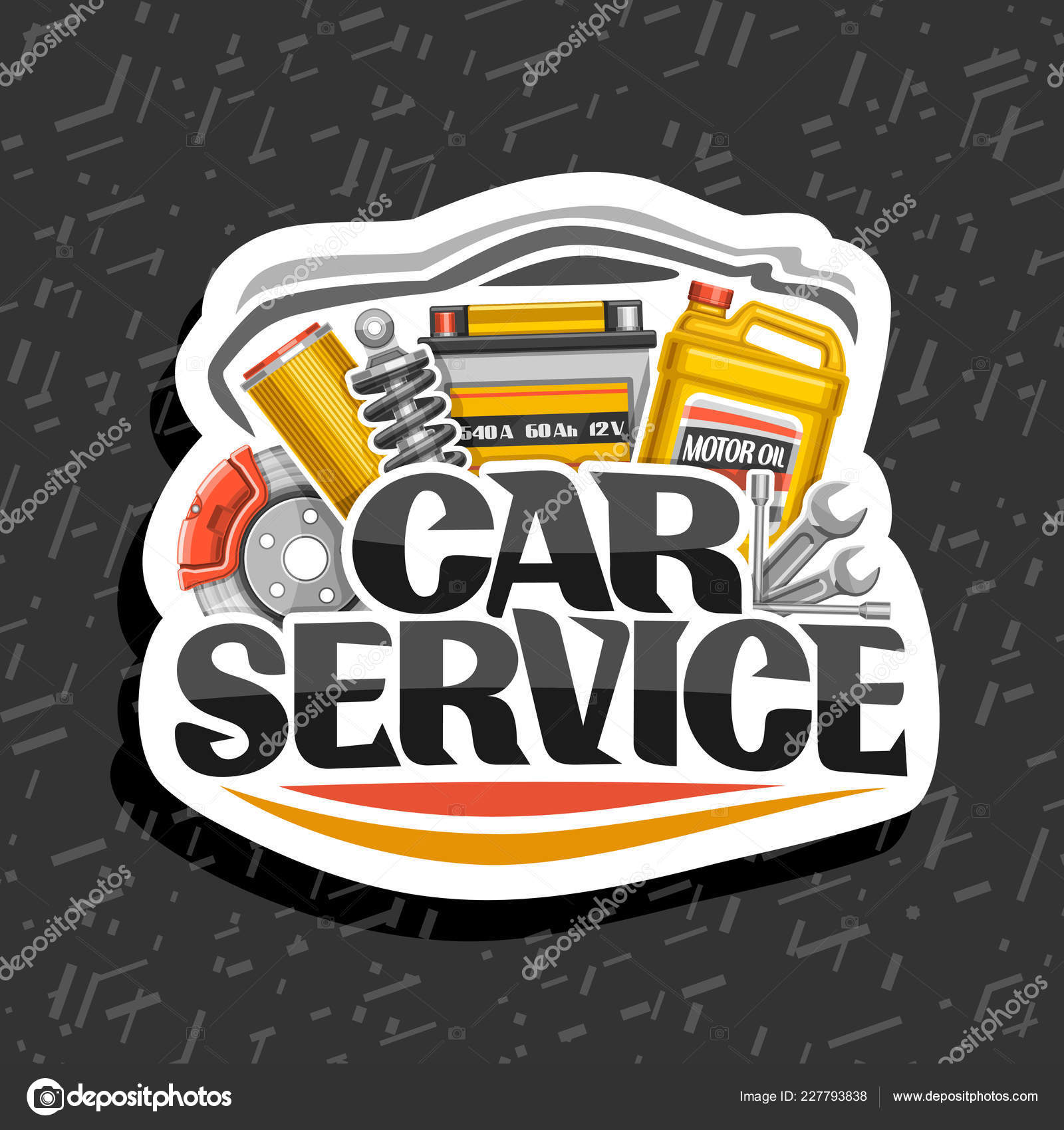 Vector logo for car service white design sticker with set of different auto parts for variety mechanic car system lettering for words car service