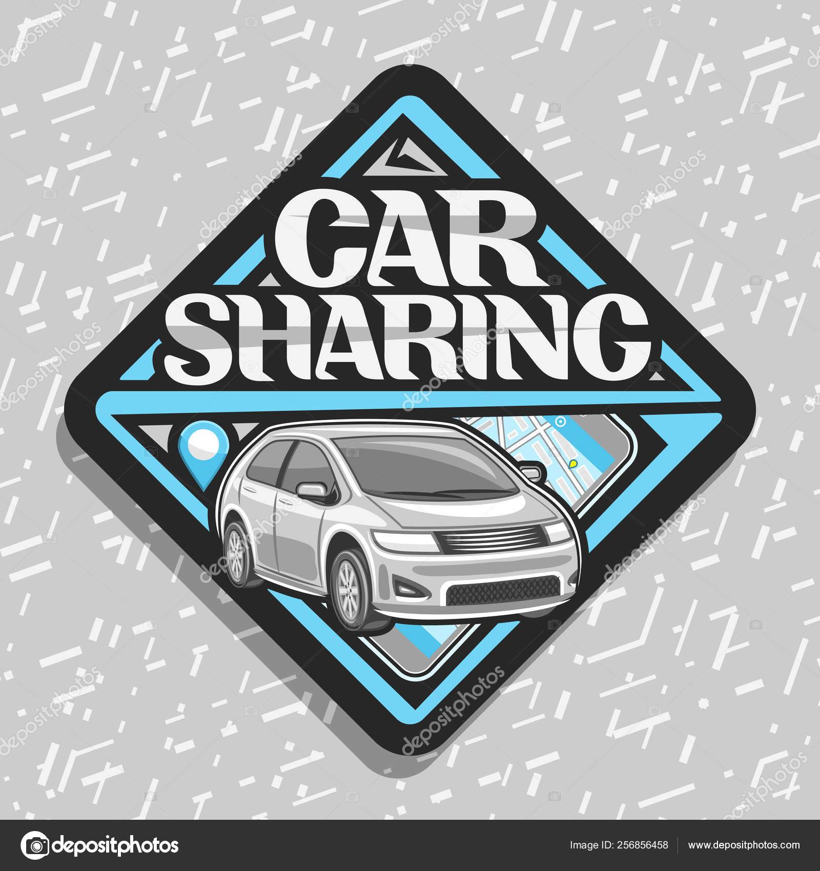 Vector Logo Car Sharing Company Black Decorative Label Cartoon