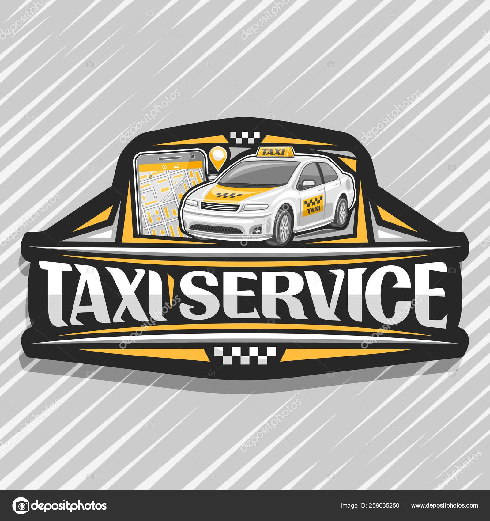 Vektor Logo für Taxiservice, schwarze dekorative Plakette mit stehender  Cartoon Limousine und Handy, origineller Schriftzug für Wörter Taxiservice,  ...