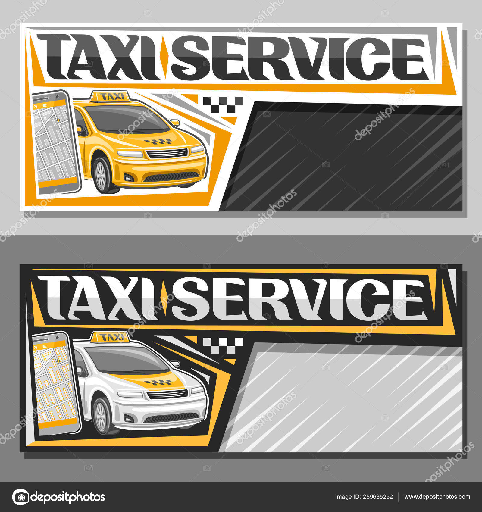Vector Banners Taxi Service Copy Space Layouts Standing