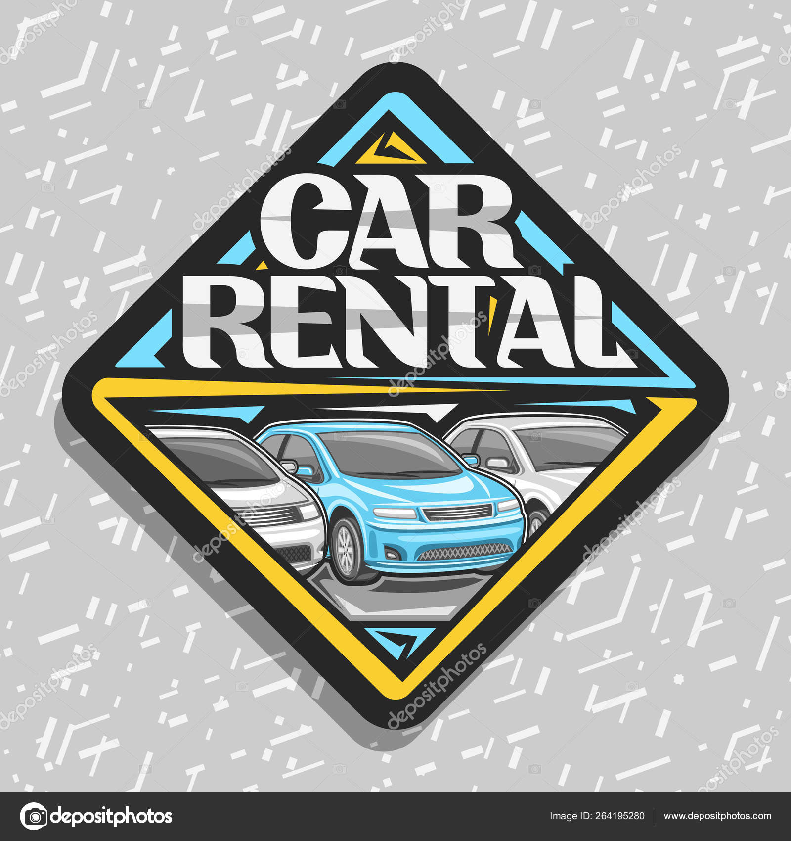 Vector logo car rental black decorative sticker cartoon different automobiles stock vector