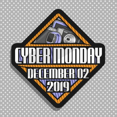 Vector logo for Cyber Monday, rhombus futuristic sign board with original font for words cyber monday, december 02, 2019, modern concept for season sale on gray background, pricetag for hi tech market