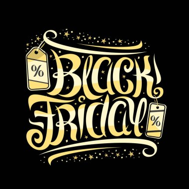 Vector lettering for Black Friday, voucher with curly calligraphic font with flourishes, decorative pricetag, design sign board with swirly brush calligraphy for words black friday on dark background.