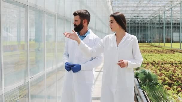 Two researchers in laboratory robes walk around the greenhouse. They discuss the success of doing business