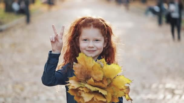 Cute little redhead daughter standing in autumn park and looking into the camera. She holding ha yellow leaves in her hands and showing a victory hand gesture