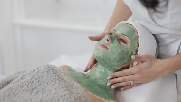 Beautiful young girl at the beautician does the spa procedures. A hand of cosmetologist applies green mask on the patients face. Concept of body care healthy lifestyle. Slow motion.