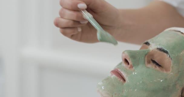 Arcpakolás szépségszalon: gyönyörű nő. Kozmetikus alkalmazása zöld Arc maszk az arcra. Takarítás, kozmetika, wellness szépségápolás bőr eljárások