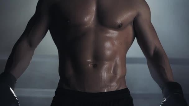 Ein männlicher Boxer zeigt eine Presse und Muskeln. Nahaufnahme. Boxring-Hintergrund. Nacktsportler posiert vor der Kamera.