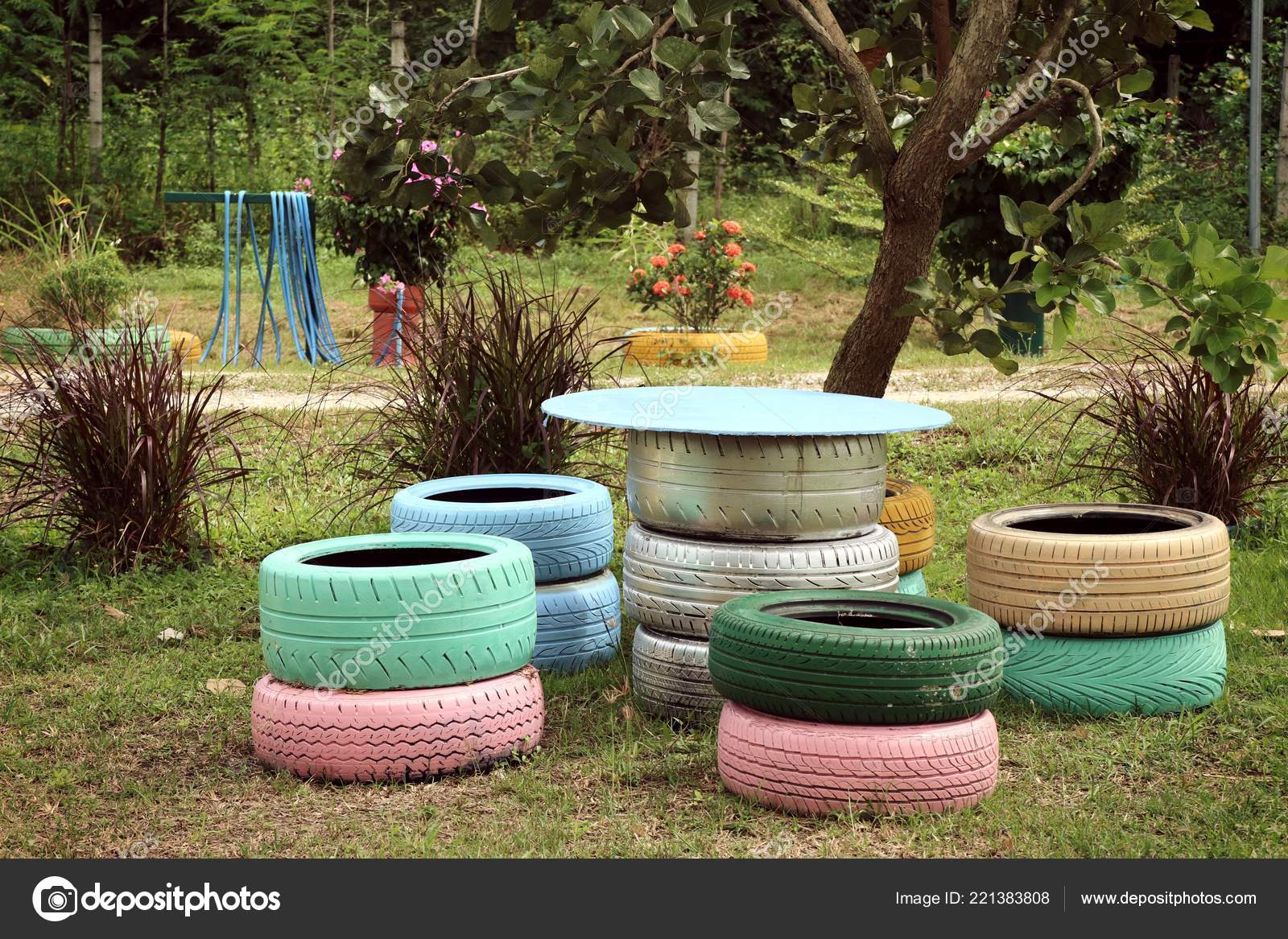Decoration Old Tire Chairs Stock Photo C Oilslo 221383808