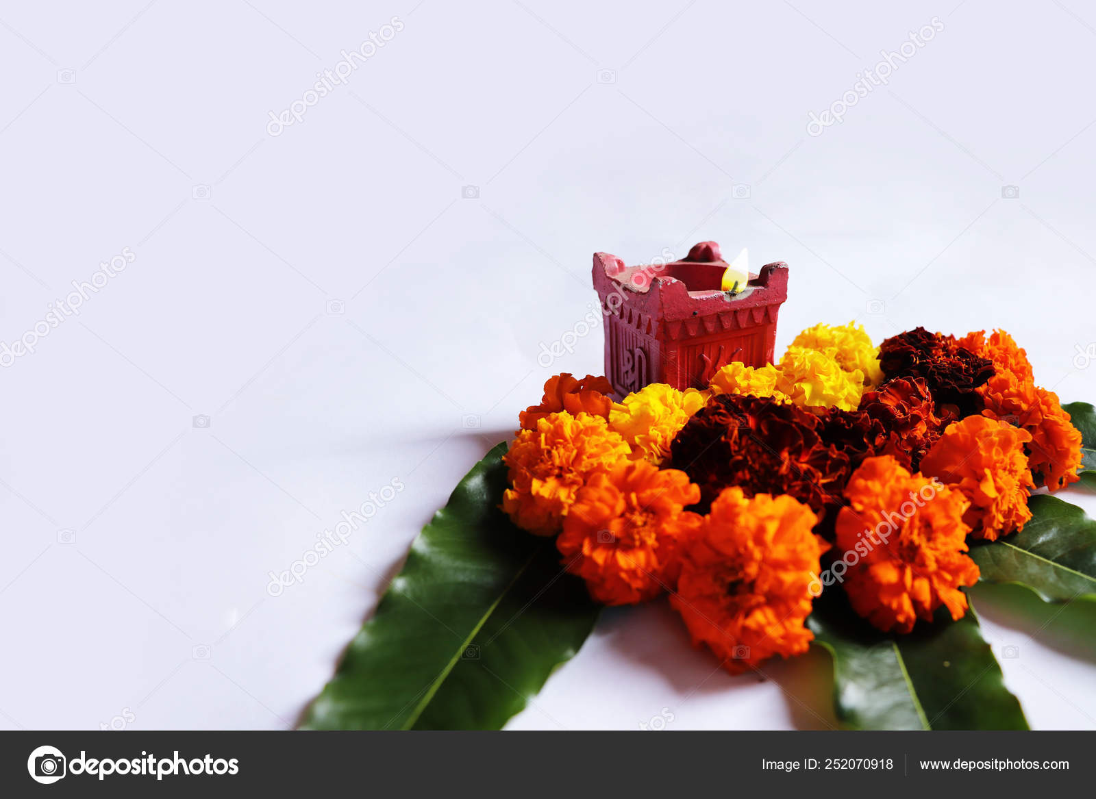 Flower Rangoli Diwali Pongal Festival Made Using Marigold Zendu Flowers Stock Photo C Abhi R P 252070918