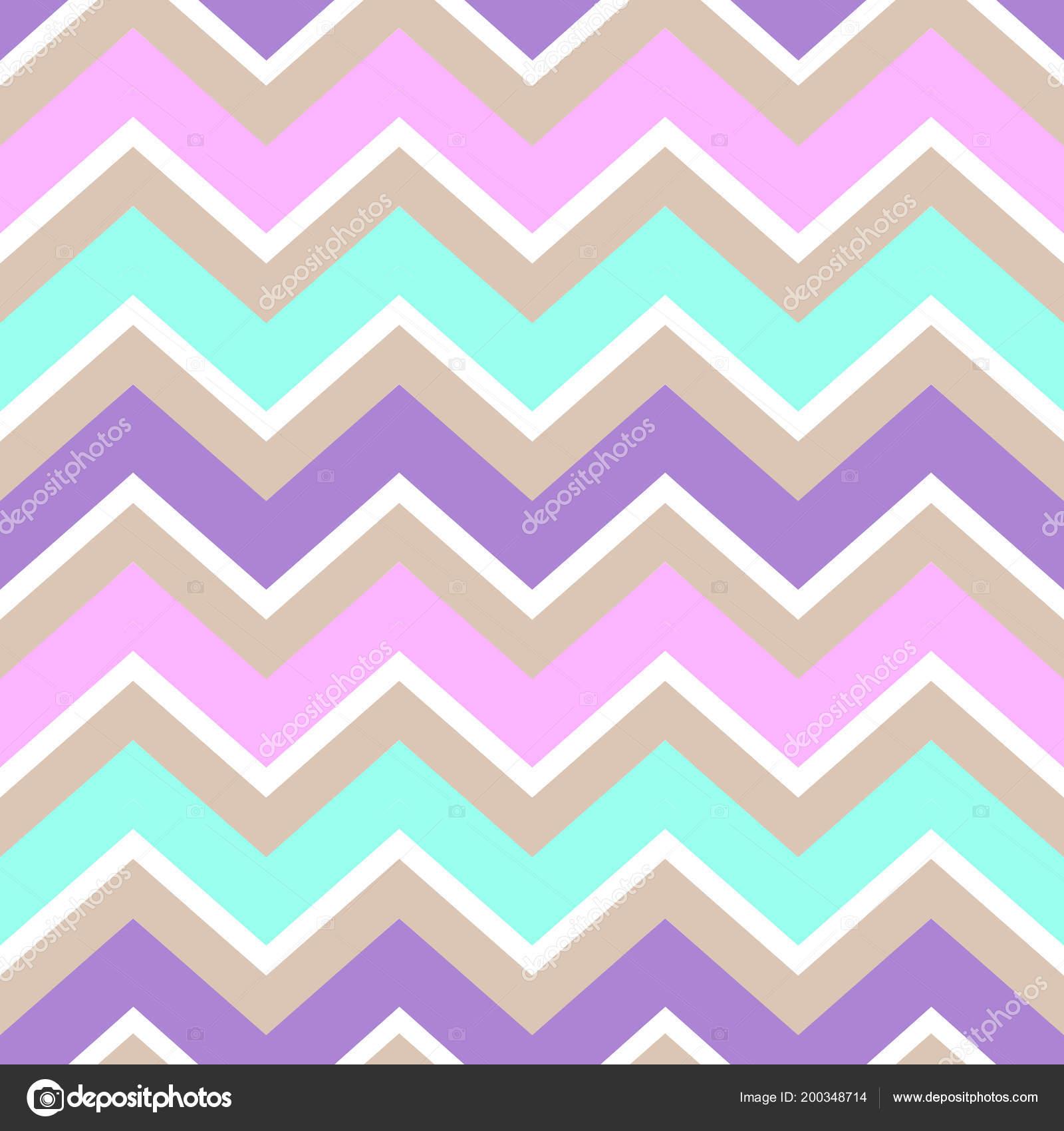 Chevron Turquoise White Purple Pink Cream Color Seamless Pattern Vector