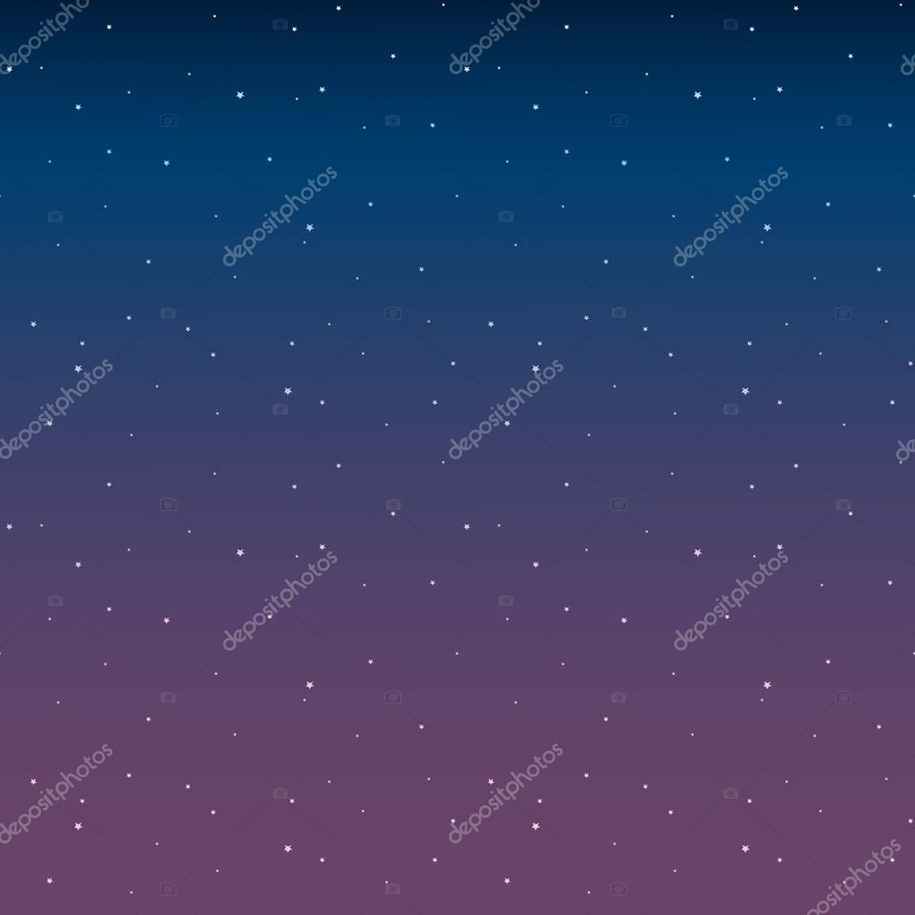 Space with stars night sky before sunrise pink vector.