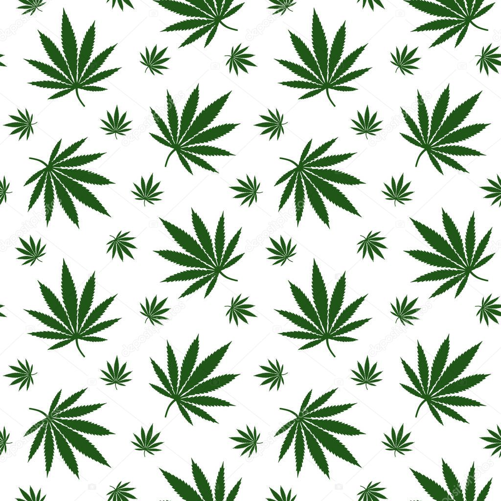 green leaves cannabis marijuana drug herb pattern seamless vector.