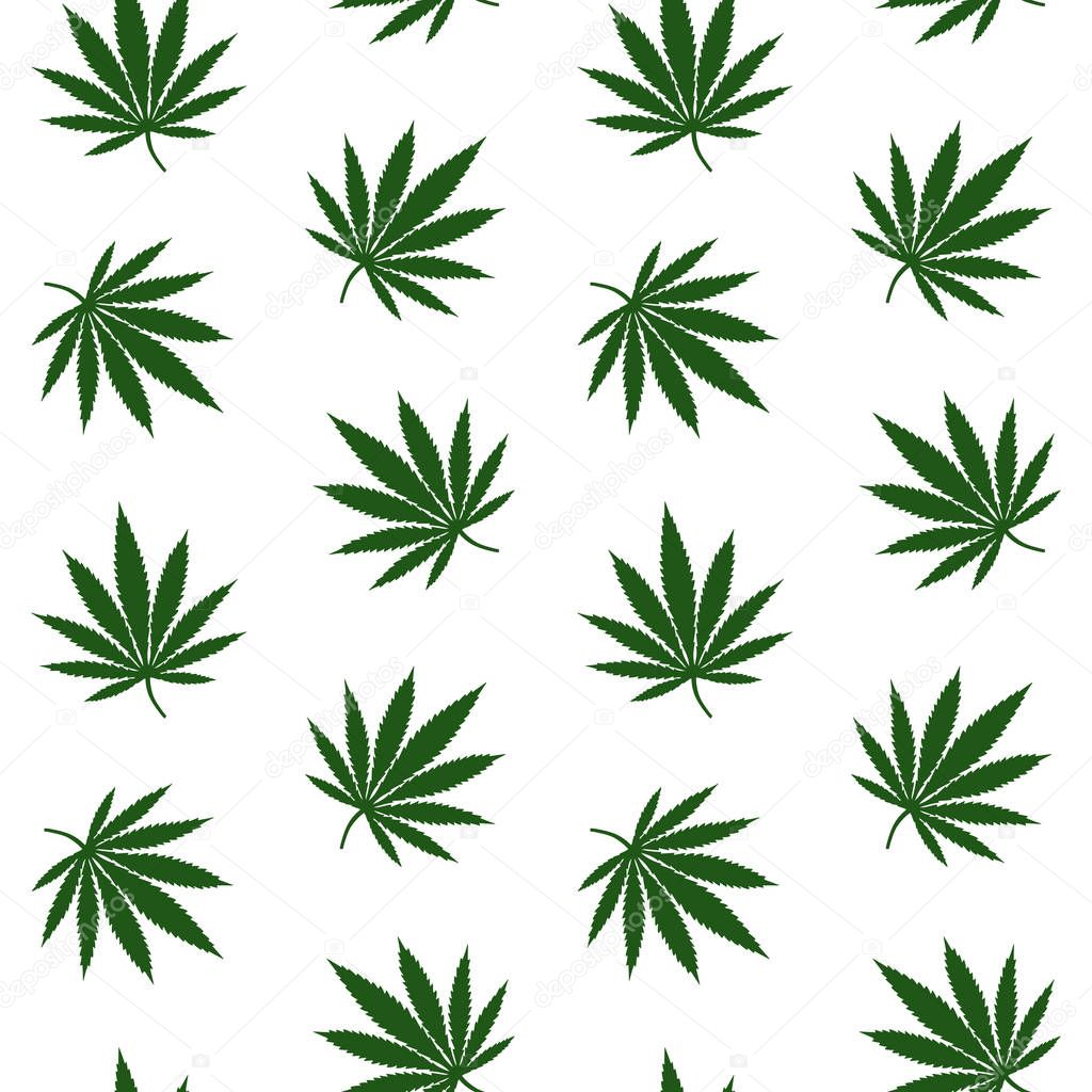 green leaves cannabis marijuana drug herb on a white background pattern seamless vector.
