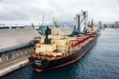 Scenic view of dry cargo vessel bulker in Savona seaport, Italy