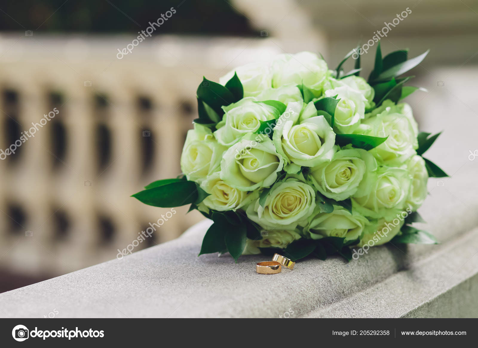 Wedding Bouquet Bride White Roses Two Gold Rings Stock Photo