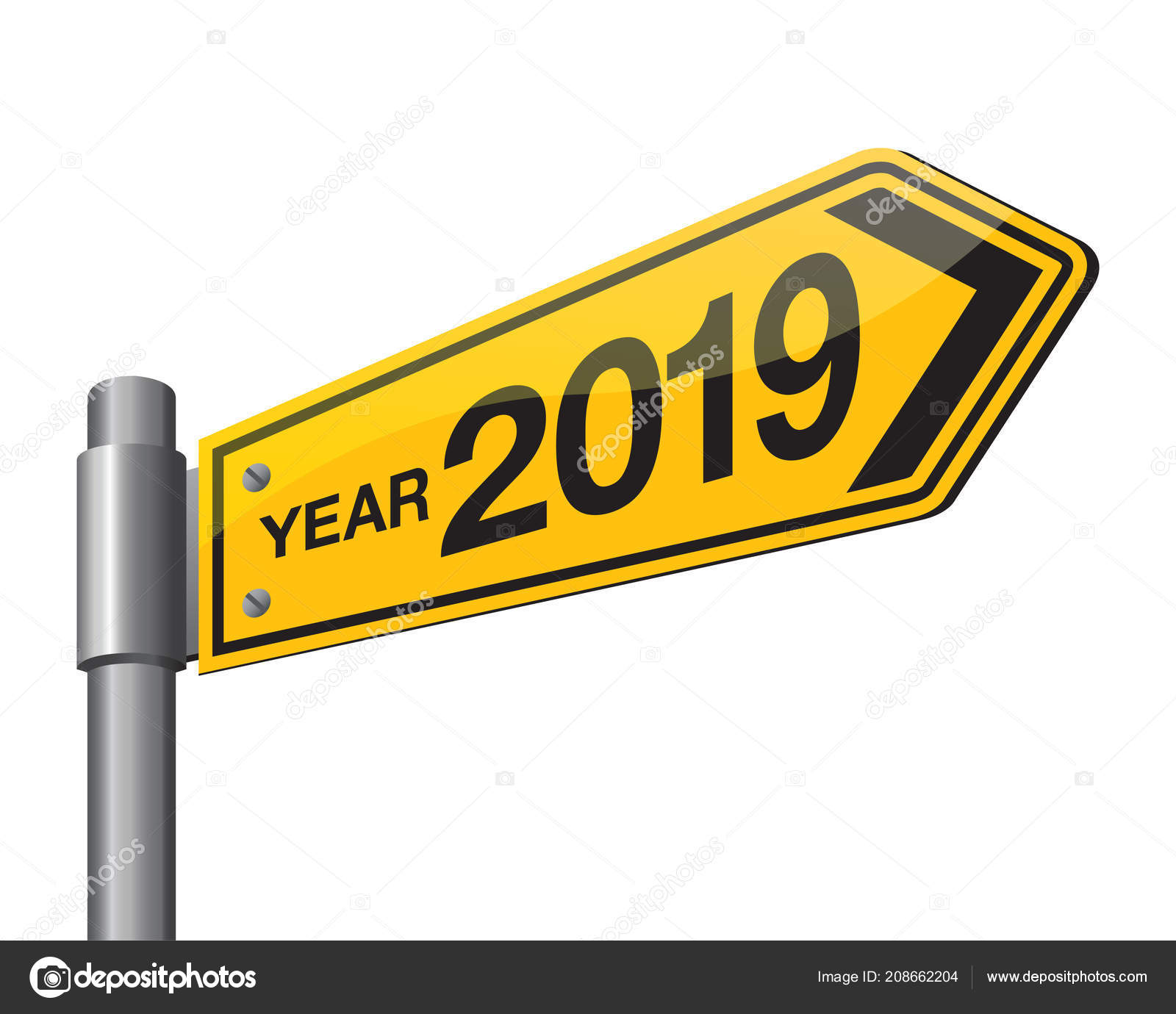 vector illustration of road sign 2019 new year is coming wish you all the best as always in this coming new year vector by dolphfynlow