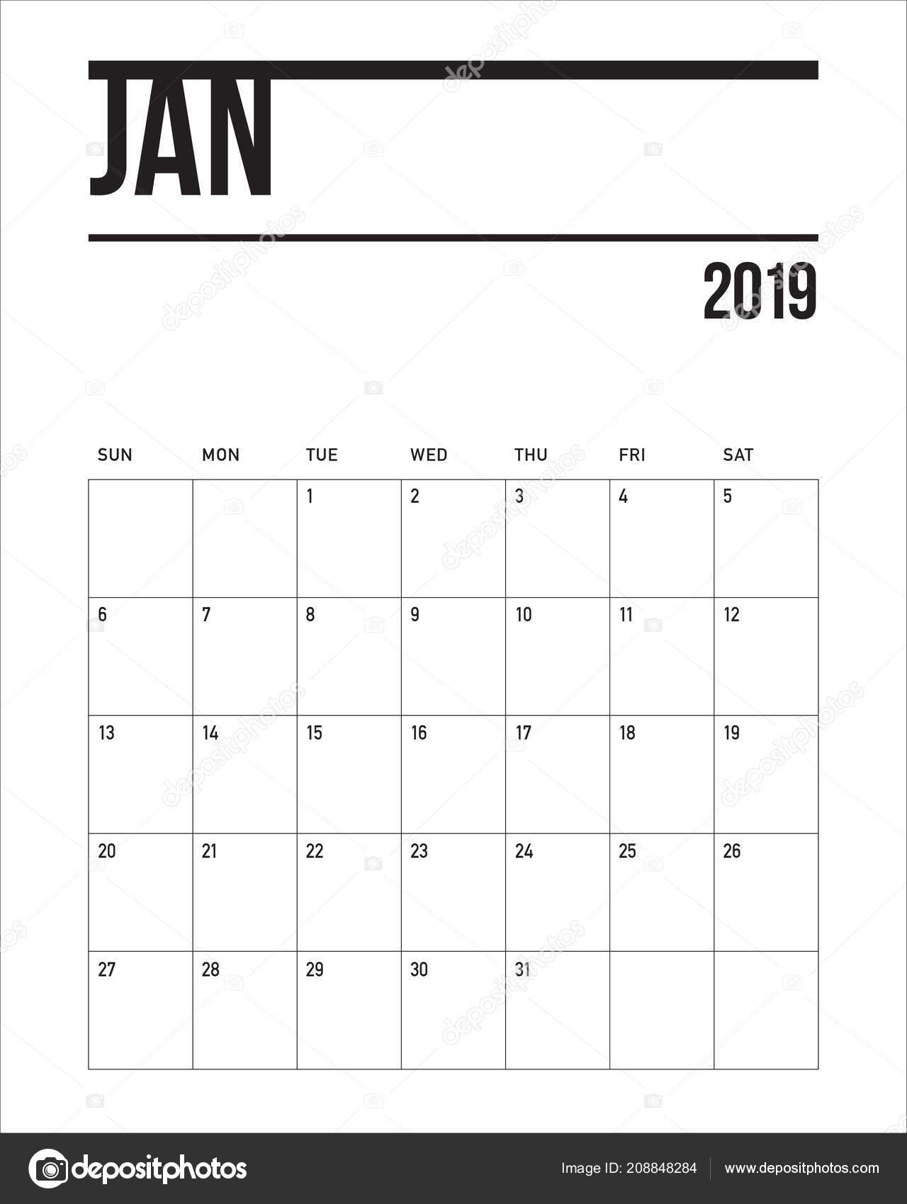 januar 2019 schreibtisch kalender vektor illustration. Black Bedroom Furniture Sets. Home Design Ideas