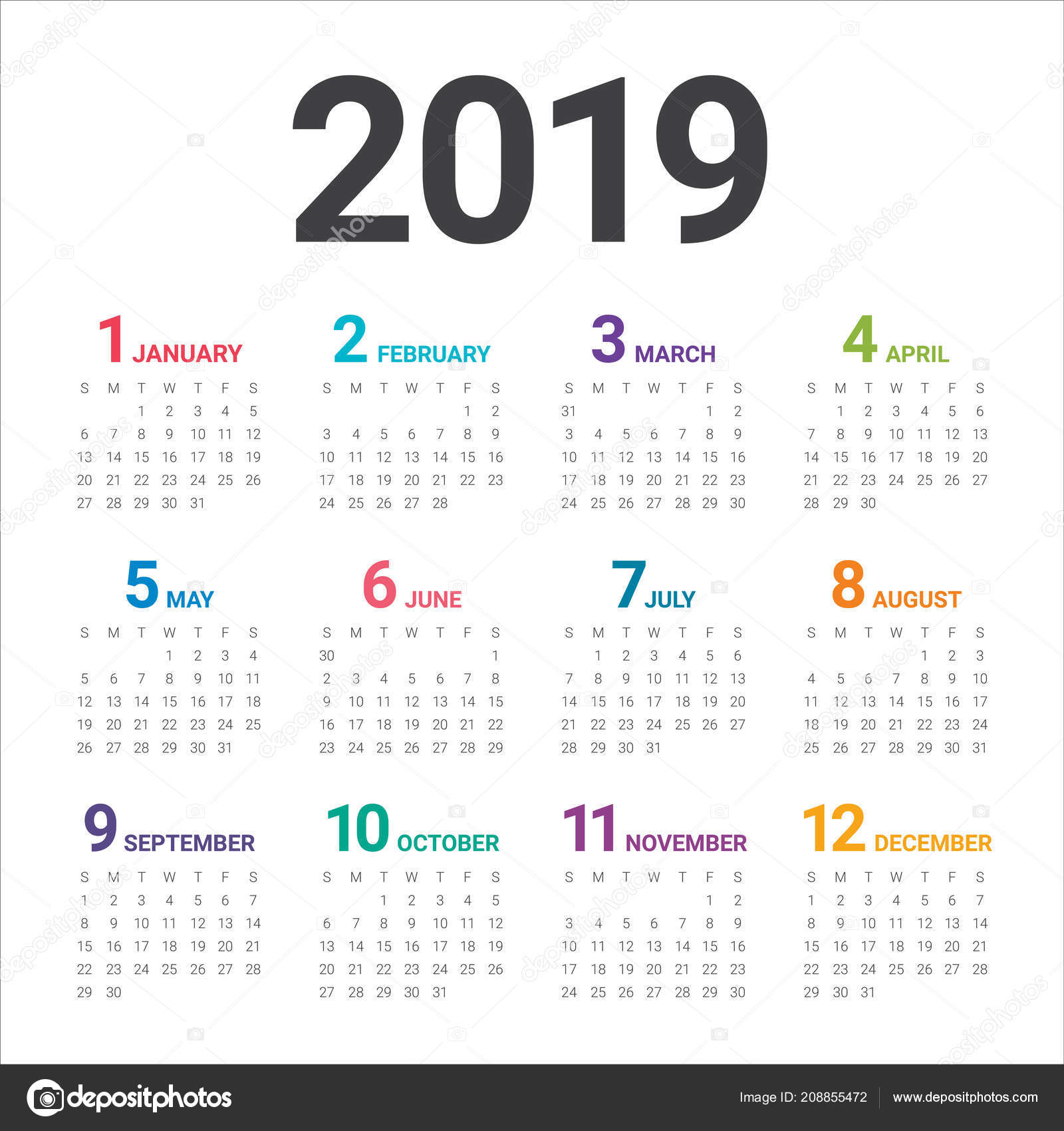 year 2019 calendar vector design template simple clean design stock vector