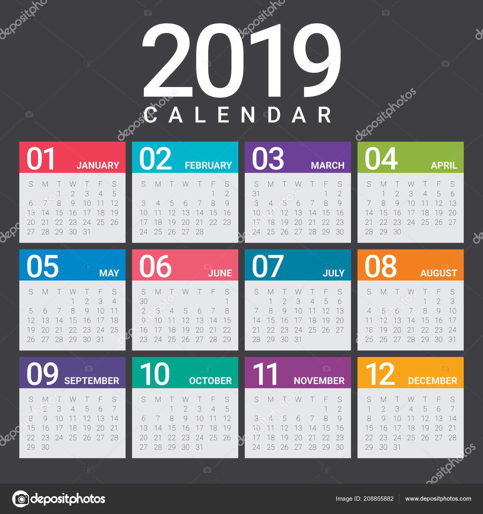 jahr 2019 kalender vektor entwurfsvorlage einfachen und. Black Bedroom Furniture Sets. Home Design Ideas