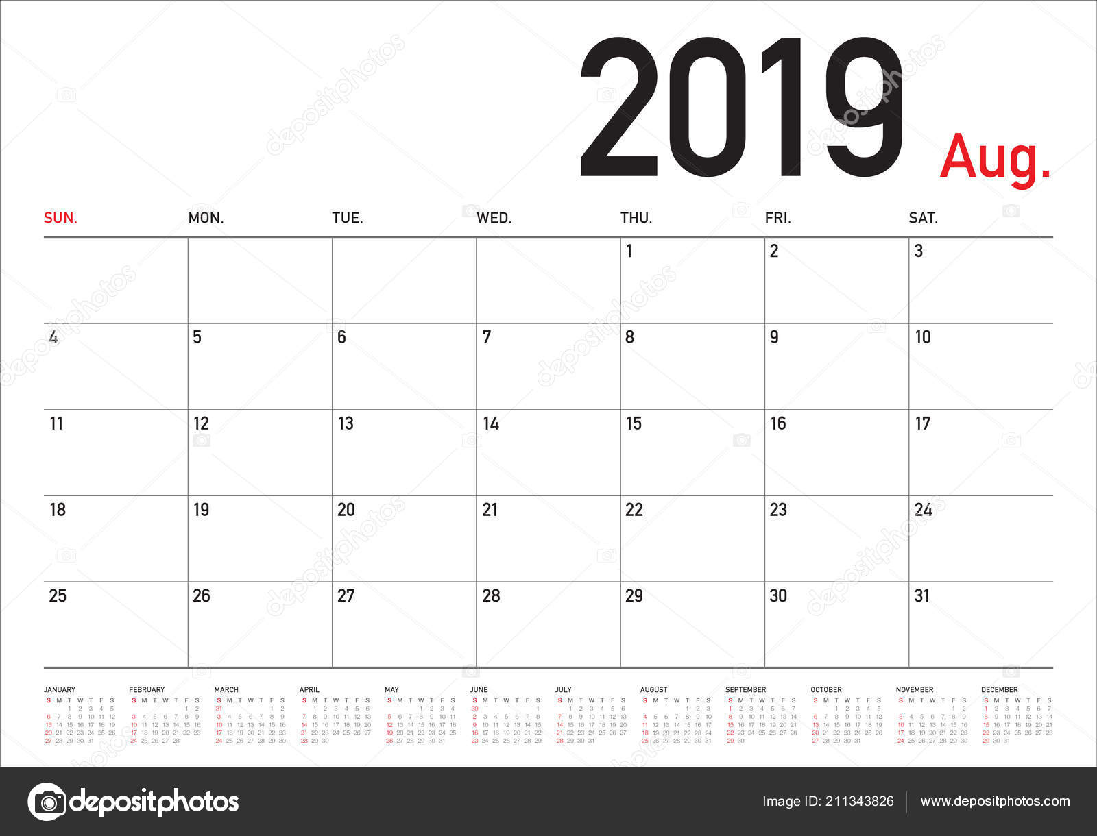 Calendrier Aout2019.Illustration Vecteur Calendrier Bureau Aout 2019 Conception