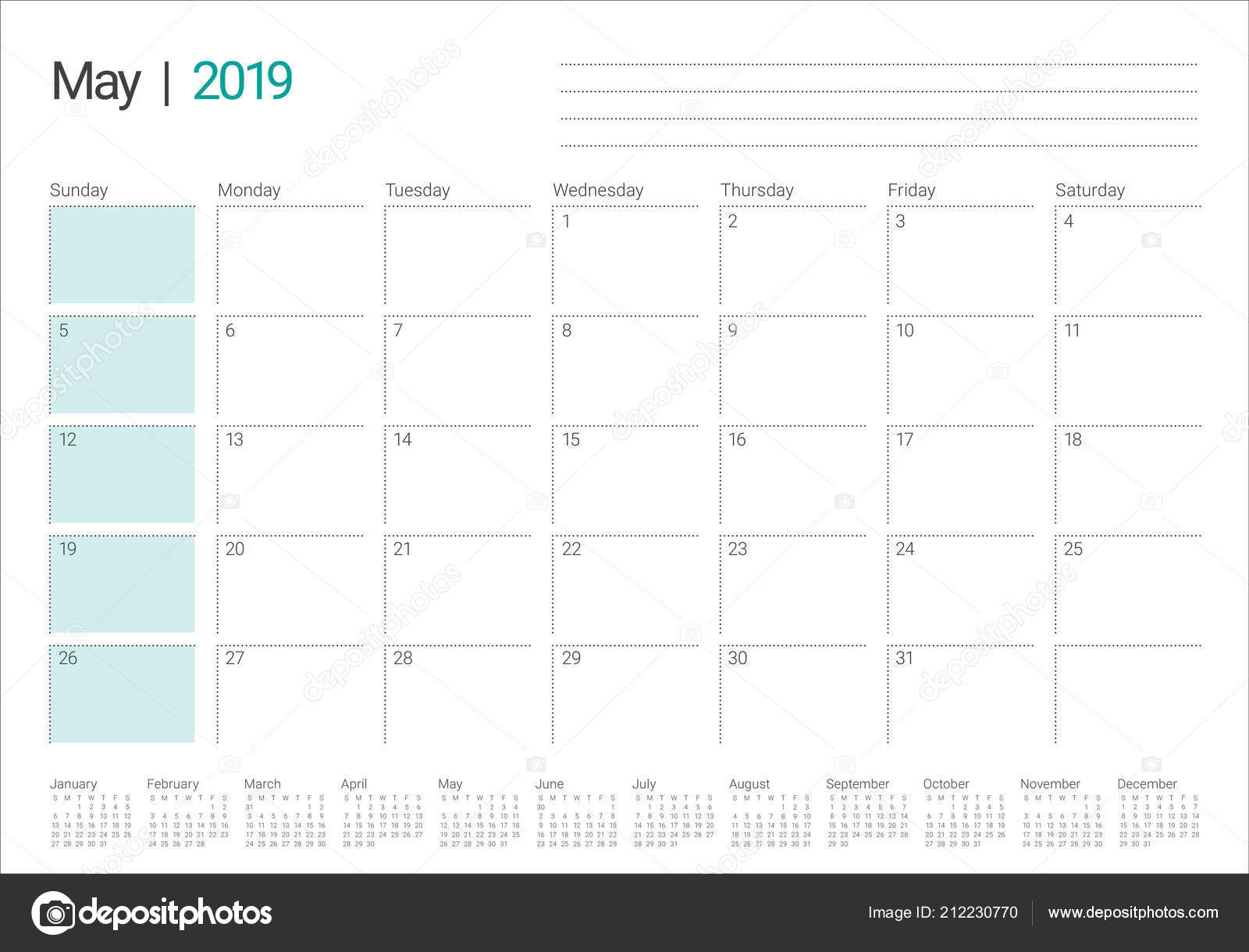 May 2019 Desk Calendar Vector Illustration Simple Clean