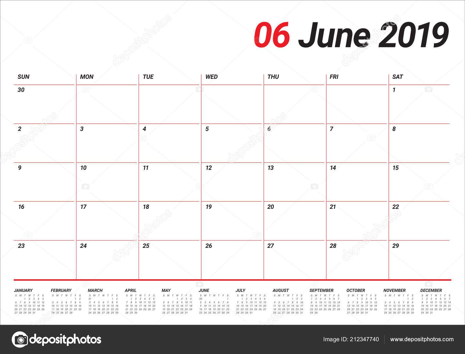 Calendario Di Giugno.Illustrazione Vettoriale Giugno 2019 Scrivania Calendario