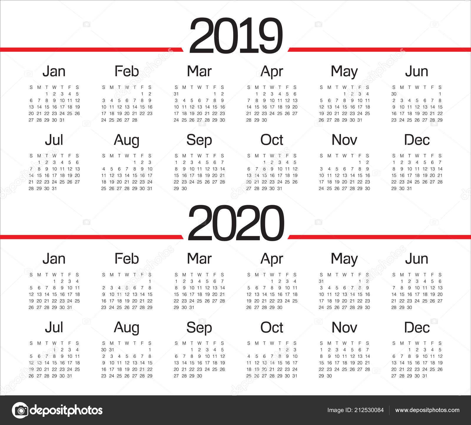 Calendario 2019 2020.Year 2019 2020 Calendar Vector Design Template Simple Clean Design