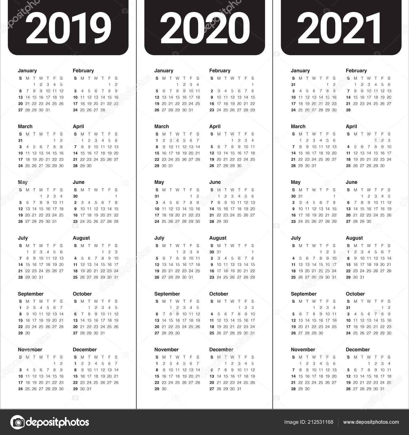 year 2019 2020 2021 calendar vector design template simple clean stock vector